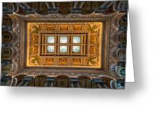 Great Hall Ceiling Library Of Congress Greeting Card by Steve Gadomski