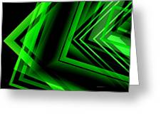 Green Abstract Geometric Greeting Card by Mario  Perez