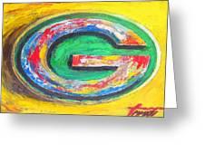 Green Bay Packers Football Greeting Card by Dan Haraga