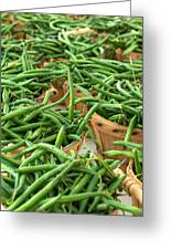 Green Beans In Baskets At Farmers Market Greeting Card by Teri Virbickis