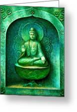 Green Buddha Greeting Card by Sue Halstenberg