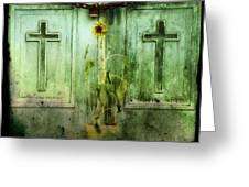 Green Doors Greeting Card by Gothicolors Donna