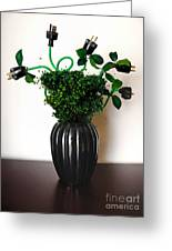 Green Energy Floral Arrangement Of Electrical Plugs Greeting Card by Amy Cicconi