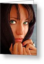 Green Eyed Beauty Greeting Card by Jon Van Gilder