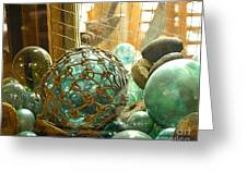 Green Glass Japanese Glass Floats Greeting Card by Artist and Photographer Laura Wrede