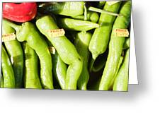 Green Jalpeno Peppers Greeting Card by Tom Gowanlock