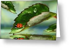 Green Leaf Greeting Card by Veronica Minozzi