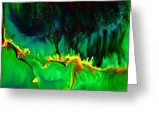 Green Panoramic Horizontal Abstract Art Lifeline By Kredart Greeting Card by Serg Wiaderny