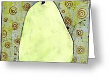 Green Pear Art With Swirls Greeting Card by Blenda Studio