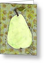 Green Pear Art With Swirls Greeting Card by Blenda Studio