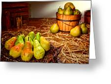 Green Pears In Rustic Basket Greeting Card by Olivier Le Queinec