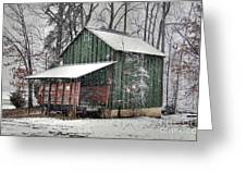 Green Tobacco Barn Greeting Card by Benanne Stiens