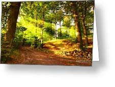 Green Trees Greeting Card by Boon Mee