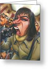 Greeting Card Flu Season Woman About To Sneeze Greeting Card by Walt Curlee