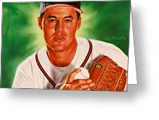 Greg Maddux Greeting Card by Dick Bobnick
