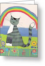 Grey Cat Under Rainbow Greeting Card by Yana Vergasova