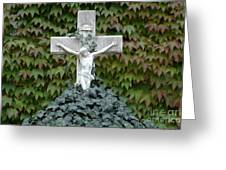 Grey Marmoreal Cross With Trailing Ivy Greeting Card by Angela Kail