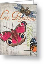 Grey Postcard Butterflies 1 Greeting Card by Debbie DeWitt