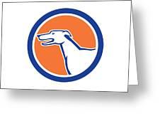 Greyhound Dog Head Side Retro Circle Greeting Card by Aloysius Patrimonio