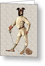 Greyhound Fencer Full White Greeting Card by Kelly McLaughlan
