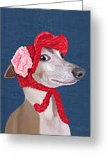 Greyhound Red Knitted Hat Greeting Card by Kelly McLaughlan