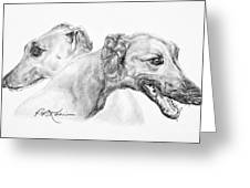 Greyhounds For Two Greeting Card by Roy Kaelin