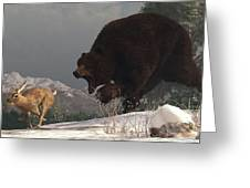 Grizzly Bear Chasing Rabbit Greeting Card by Daniel Eskridge