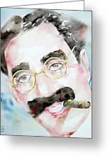 Groucho Marx Watercolor Portrait.2 Greeting Card by Fabrizio Cassetta