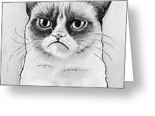 Grumpy Cat Portrait Greeting Card by Olga Shvartsur