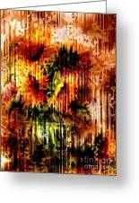 Grungey Vintage Sunflowers Greeting Card by Georgiana Romanovna