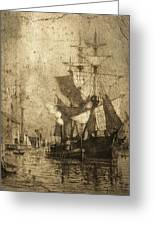 Grungy Historic Seaport Schooner Greeting Card by John Stephens