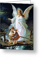 Guardian Angel And Children Crossing Bridge Greeting Card by Lindberg Heilige Schutzengel