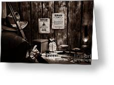 Guarding The Payroll Greeting Card by American West Legend By Olivier Le Queinec