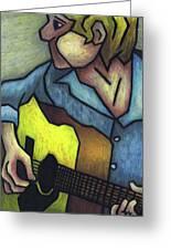 Guitar Man Greeting Card by Kamil Swiatek