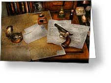 Gun - The adventure of military life  Greeting Card by Mike Savad