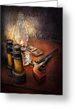 Gun - The Adventures Code  Greeting Card by Mike Savad