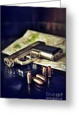 Gun With Bullets And Map Greeting Card by Jill Battaglia
