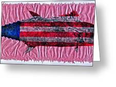 Gyotaku - American Spanish Mackerel - Flag Greeting Card by Jeffrey Canha