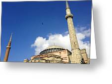 Hagia Sophia With Two Minarets Istanbul Turkey Greeting Card by Ralph A  Ledergerber-Photography