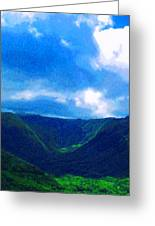 Halawa Valley Greeting Card by James Temple