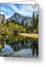 Half Dome Reflected In The Merced River Greeting Card by John Haldane