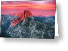 Half Dome Sunset From Glacier Point Greeting Card by John Haldane