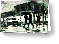 Halifax In The Rain One Greeting Card by John Malone