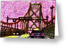 Halifax Macdonald Bridge Pointillist Greeting Card by John Malone