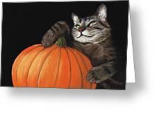 Halloween Cat Greeting Card by Anastasiya Malakhova