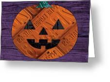Halloween Pumpkin Holiday Boo License Plate Art Greeting Card by Design Turnpike