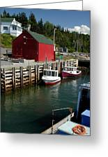 Halls Harbour Fishing Cove Greeting Card by Norman Pogson