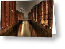 Hamburg Speicherstadt Bei Nacht Greeting Card by George Inness