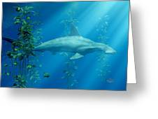 Hammerhead Among The Seaweed Greeting Card by Daniel Eskridge