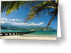 Hanalei Pier and beach Greeting Card by M Swiet Productions